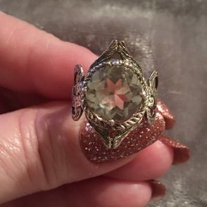 Vintage SS Green Amethyst Intricate Ring 6
